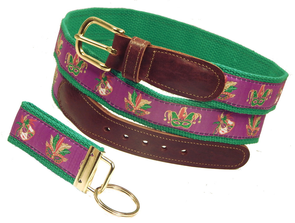 Preston Leather Mardi Gras Masks Belt, Kelly Green Web, FREE Matching Key Ring