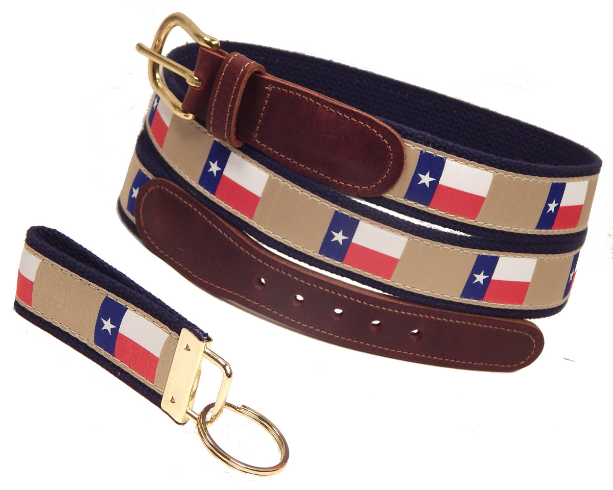 "Preston Leather ""Texas Flag"" Belt, Navy Web, FREE Matching Key Ring"
