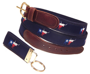 "Preston Leather ""Texas Longhorn"" Belt, Navy Web, FREE Matching Key Ring"