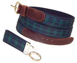 "Preston Leather ""Black Watch Plaid"" Belt, Navy Web, FREE Matching Key Ring"