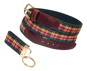 "Preston Leather ""Buchanan Plaid"" Belt, Forest Green Web, FREE Matching Key Ring"