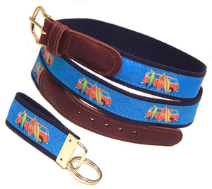 "Preston Leather ""Surfboards"" Belt, Navy Web, FREE Matching Key Ring"