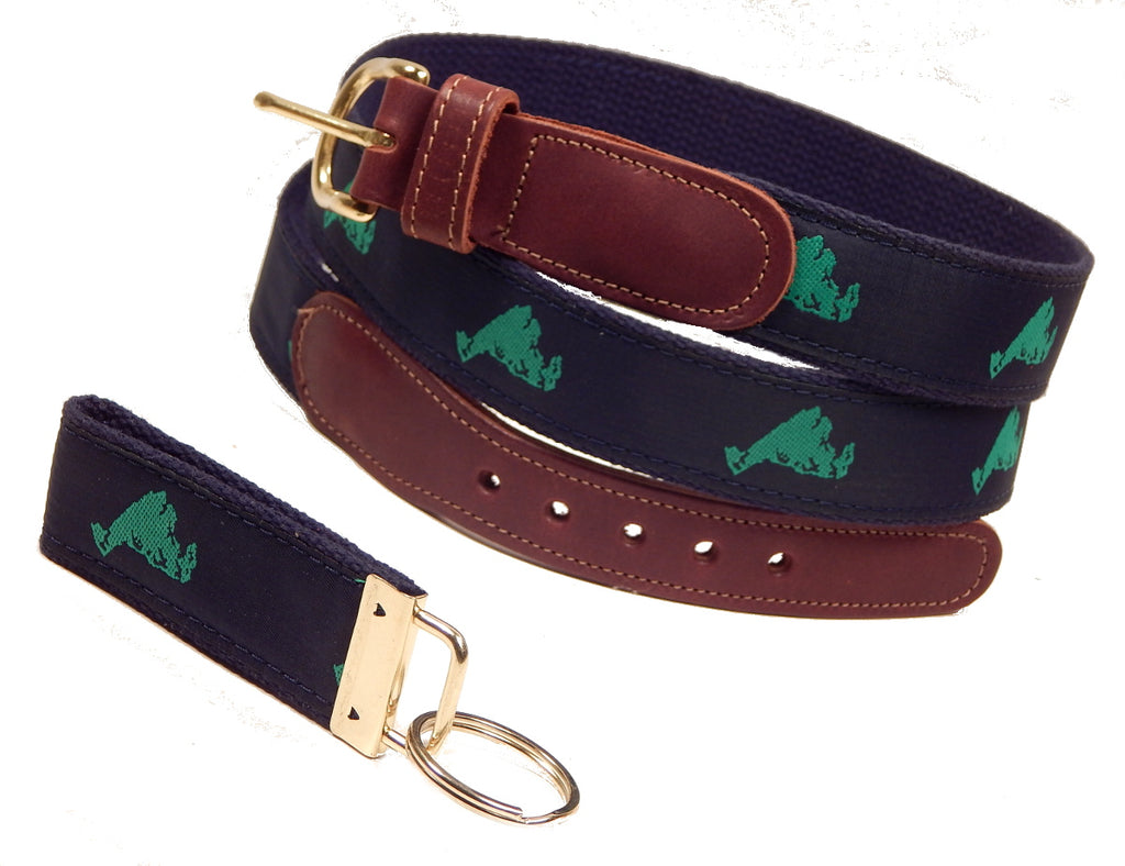 "Preston Leather ""Map of Martha's Vineyard"" Belt, Navy Web, FREE Matching Key Ring"