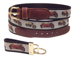 "Preston Leather ""Motorcycles"" Belt, Black Web, FREE Matching Key Ring"