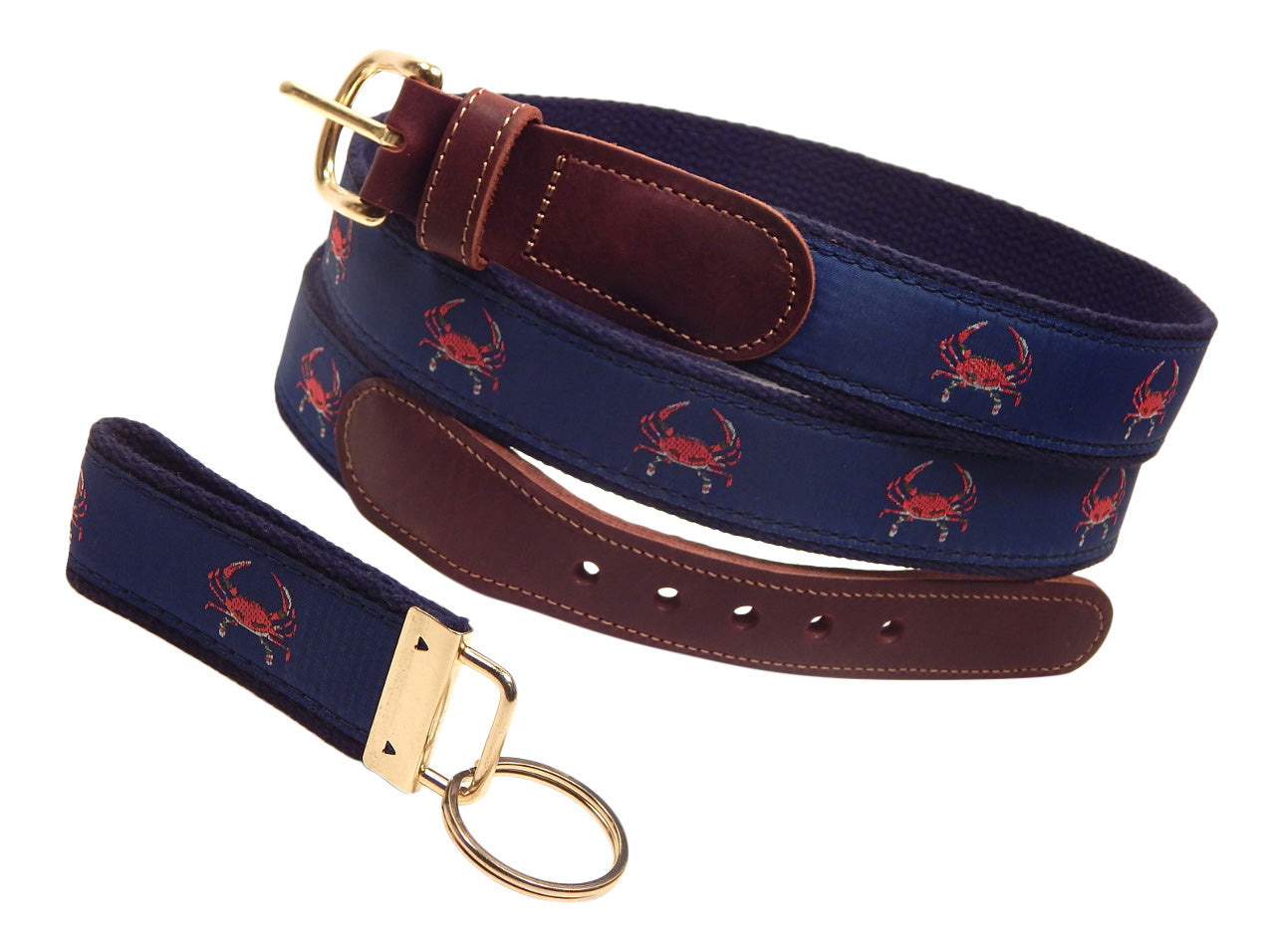 "Preston Leather ""Red Crab on Navy"" Belt, Navy Web, FREE Matching Key Ring"
