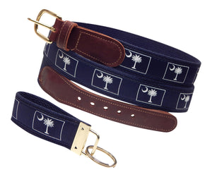 "Preston Leather ""Palmetto & Moon"" Belt, Navy Web, FREE Matching Key Ring"