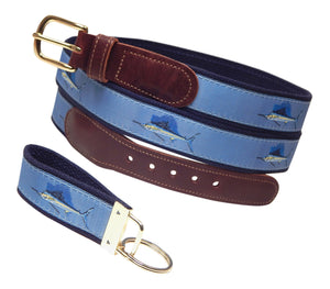 "Preston Leather ""Sailfish"" Belt, Navy Web, FREE Matching Key Ring"