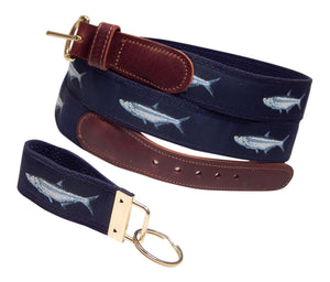 "Preston Leather ""Tarpon"" Belt, Navy Web, FREE Matching Key Ring"