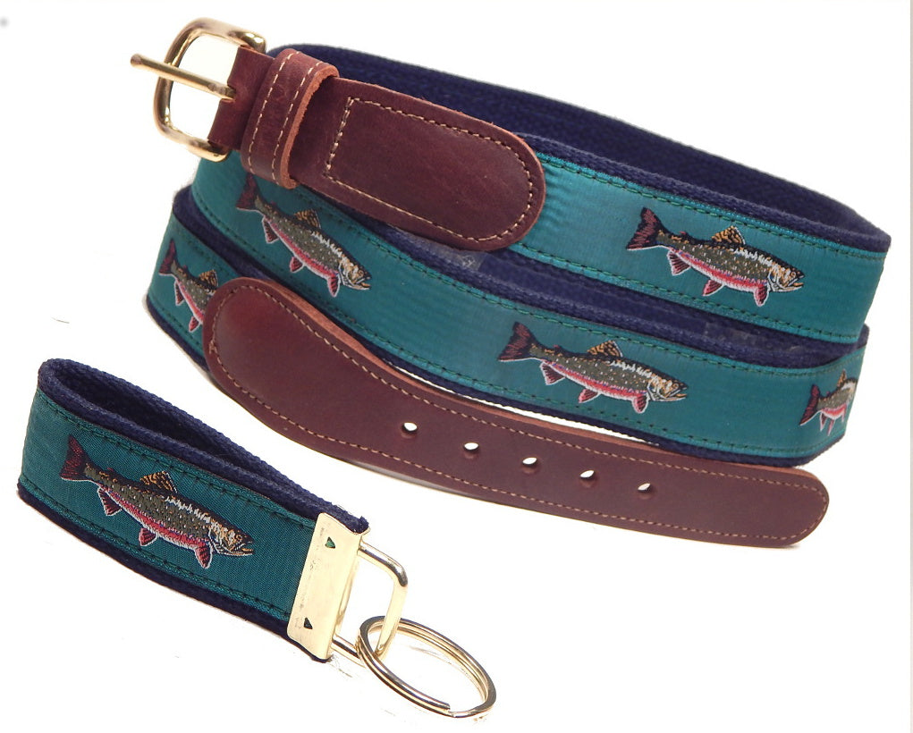 "Preston Leather ""Brook Trout"" Belt, Navy Web, FREE Matching Key Ring"