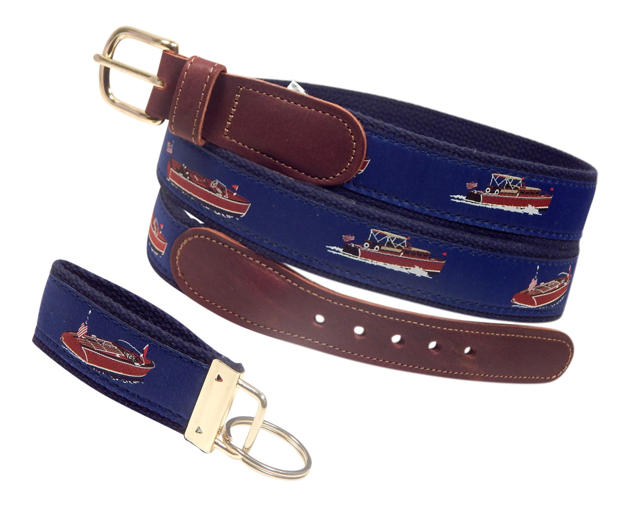 "Preston Leather ""Wooden Boats"" Belt, Navy Web, FREE Matching Key Ring"