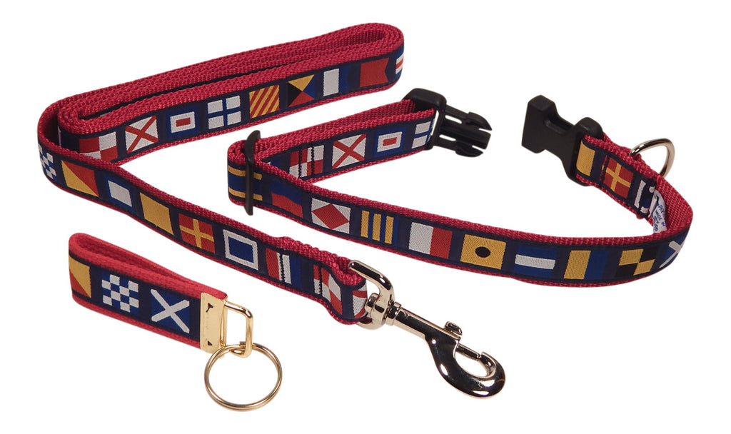 "Preston Ribbons ""Nautical Code Flag"" Collar and Leash, MEDIUM/LARGE Dogs, FREE Matching Key Ring"