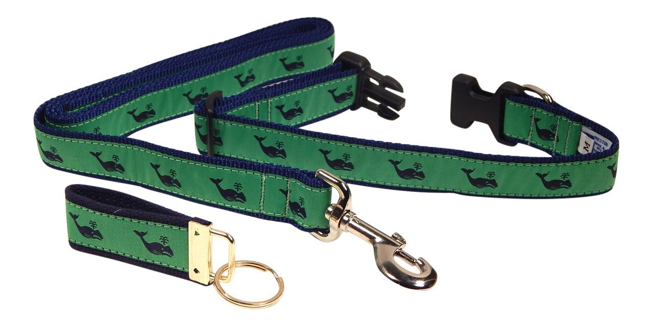 "Preston Ribbons ""Navy Whale on Green"" Collar and Leash, MEDIUM/LARGE Dogs, FREE Matching Key Ring"