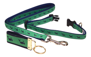 "Preston Ribbons ""Navy Whale on Green"" Collar and Leash, SMALL Dogs, FREE Matching Key Ring"