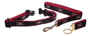 "Preston Ribbons ""Skull and Crossbones"" Collar and Leash, MEDIUM/LARGE Dogs, FREE Matching Key Ring"