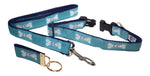 "Preston Ribbons ""Cape Cod Bone on Teal"" Collar and Leash, MEDIUM/LARGE Dogs, FREE Matching Key Ring"