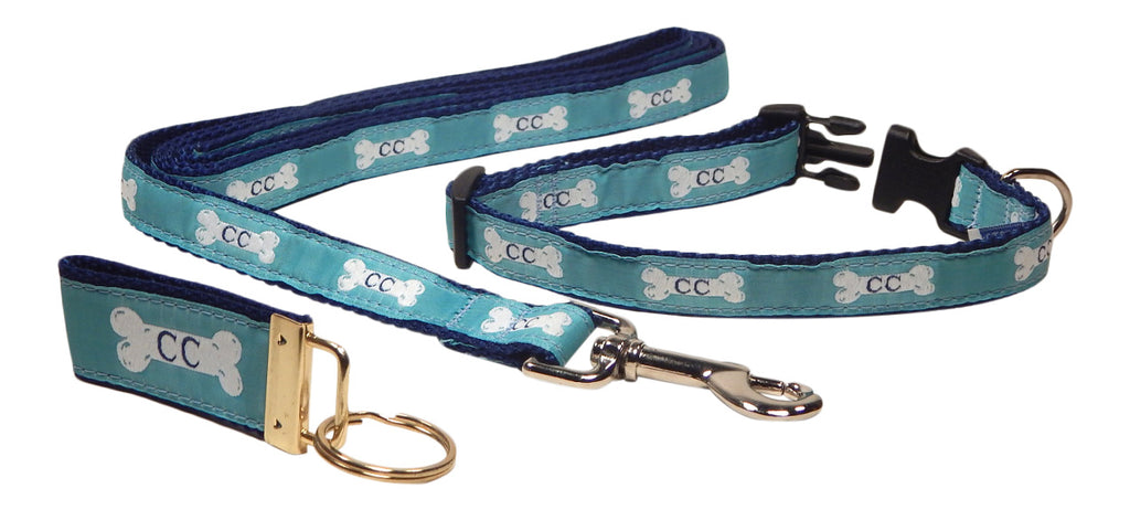 "Preston Ribbons ""Cape Cod Bone on Teal"" Collar and Leash, SMALL Dogs, FREE Matching Key Ring"