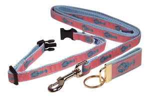 "Preston Ribbons ""Blue Lobster on Pink"" Collar and Leash, SMALL Dogs, FREE Matching Key Ring"