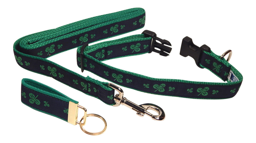 "Preston Ribbons ""Shamrocks on Navy"" Collar and Leash, MEDIUM/LARGE Dogs, FREE Matching Key Ring"