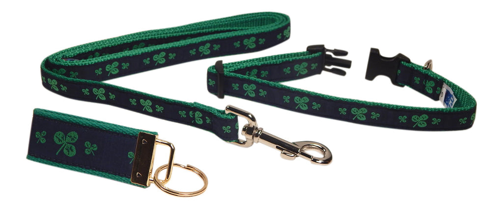 "Preston Ribbons ""Shamrocks on Navy"" Collar and Leash, SMALL Dogs, FREE Matching Key Ring"