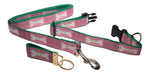 "Preston Ribbons ""Cape Cod Bone on Raspberry"" Collar and Leash, MEDIUM/LARGE Dogs, FREE Matching Key Ring"