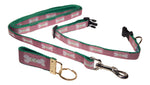 "Preston Ribbons ""Cape Cod Bone on Raspberry"" Collar and Leash, SMALL Dogs, FREE Matching Key Ring"