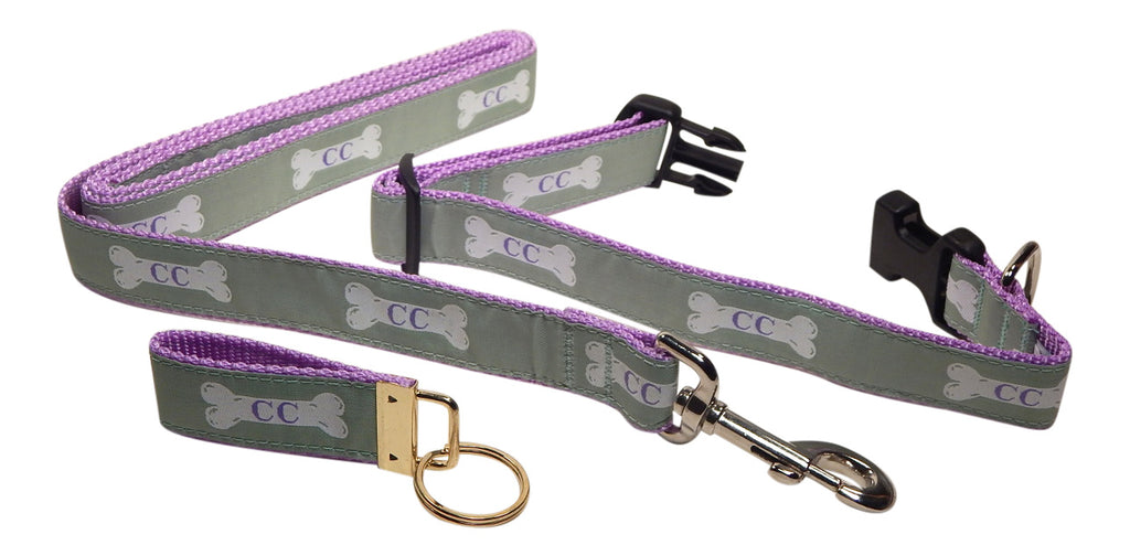 "Preston Ribbons ""Cape Cod Bone on Light Green"" Collar and Leash, MEDIUM/LARGE Dogs, FREE Matching Key Ring"