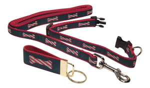 "Preston Ribbons ""Peppermint Stick"" Collar and Leash, SMALL Dogs, FREE Matching Key Ring"