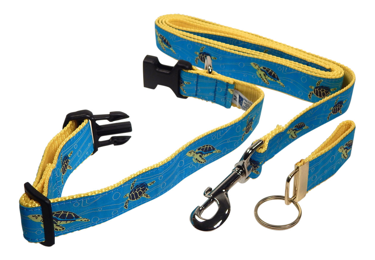 "Preston Ribbons ""Sea Turtle"" Collar and Leash, MEDIUM/LARGE Dogs, FREE Matching Key Ring"