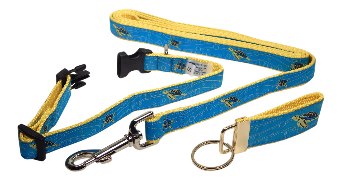 "Preston Ribbons ""Sea Turtle"" Collar and Leash, SMALL Dogs, FREE Matching Key Ring"