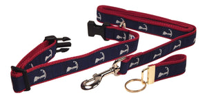 "Preston Ribbons ""Map of Cape Cod"" Collar and Leash, MEDIUM/LARGE Dogs, FREE Matching Key Ring"