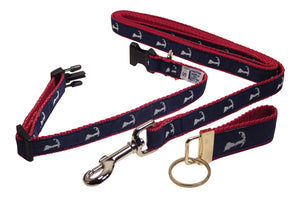 "Preston Ribbons ""Map of Cape Cod"" Collar and Leash, SMALL Dogs, FREE Matching Key Ring"