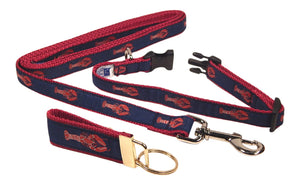 "Preston Ribbons ""Red Lobster"" Collar and Leash, SMALL Dogs, FREE Matching Key Ring"