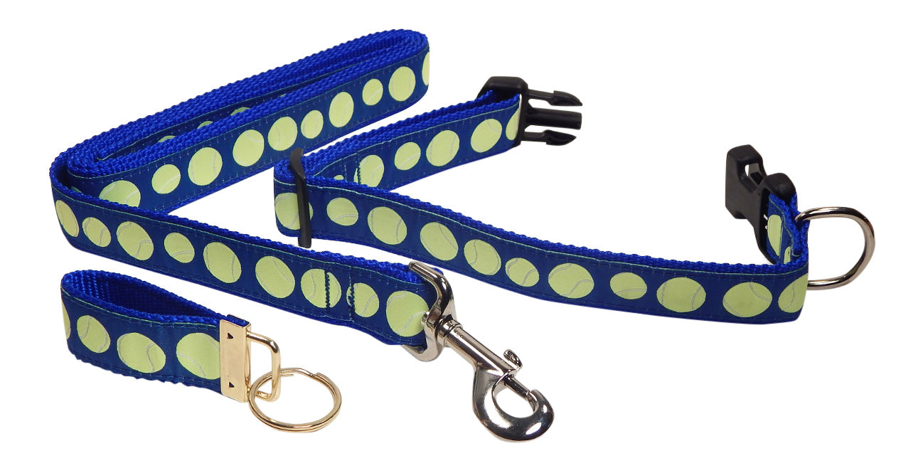 "Preston Ribbons ""Tennis Balls on Blue"" Collar and Leash, MEDIUM/LARGE Dogs, FREE Matching Key Ring"
