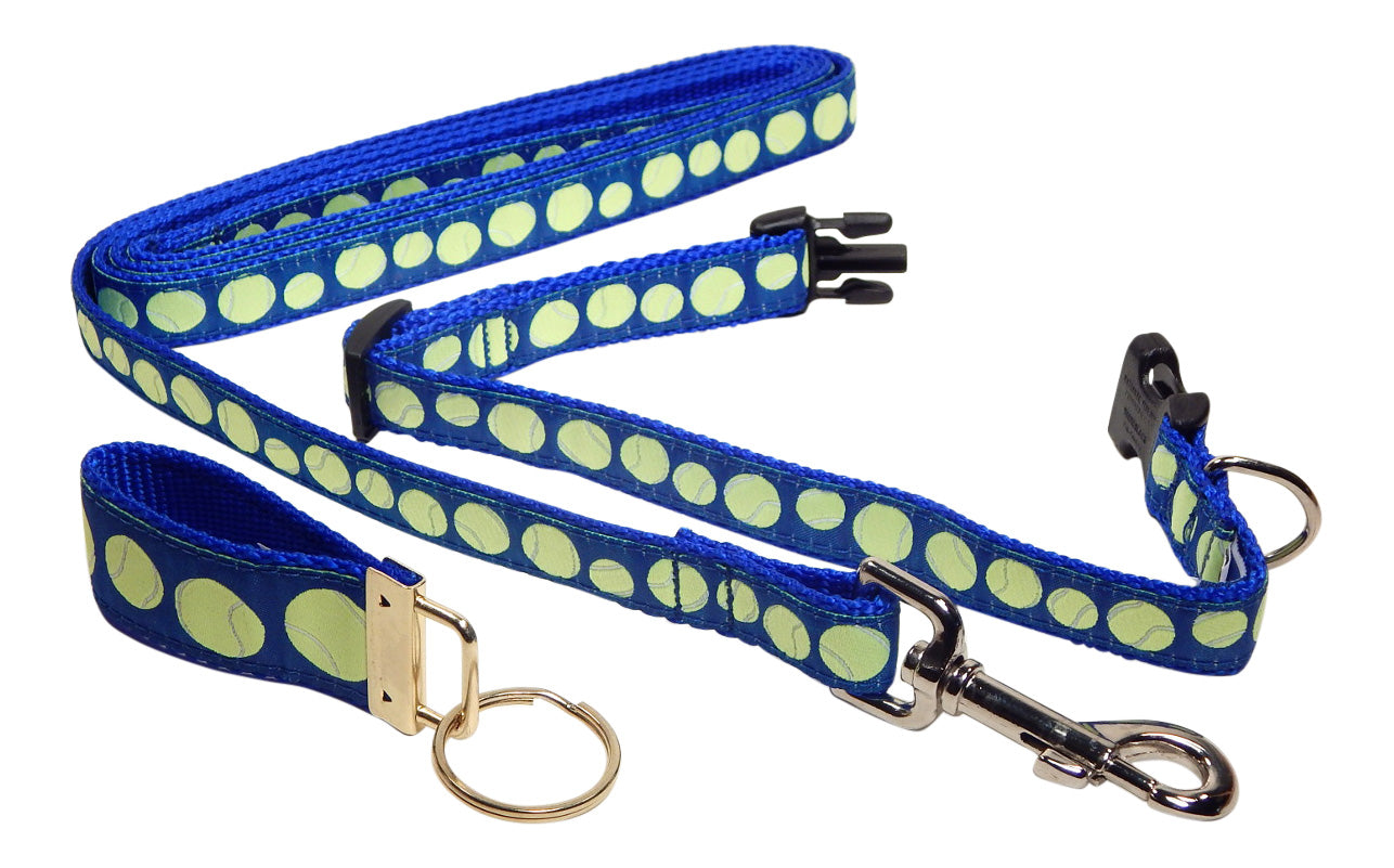 "Preston Ribbons ""Tennis Balls on Blue"" Collar and Leash, SMALL Dogs, FREE Matching Key Ring"