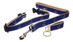 "Preston Ribbons ""Glittery Gold Anchor"" Collar and Leash, MEDIUM/LARGE Dogs, FREE Matching Key Ring"