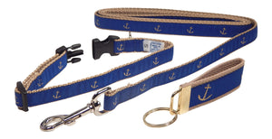 "Preston Ribbons ""Glittery Gold Anchor"" Collar and Leash, SMALL Dogs, FREE Matching Key Ring"