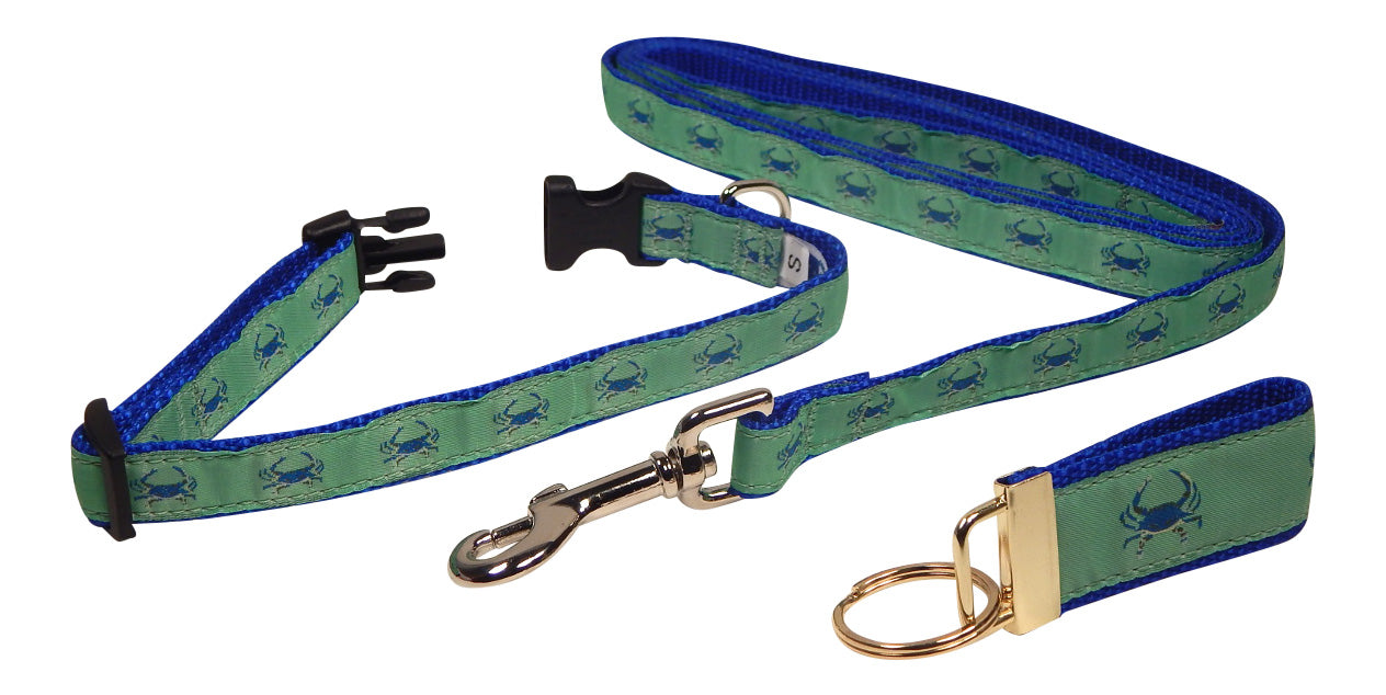 "Preston Ribbons ""Blue Crab on Green"" Collar and Leash, SMALL Dogs, FREE Matching Key Ring"