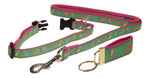 "Preston Ribbons ""Flip Flops on Lime Green"" Collar and Leash, SMALL Dogs, FREE Matching Key Ring"