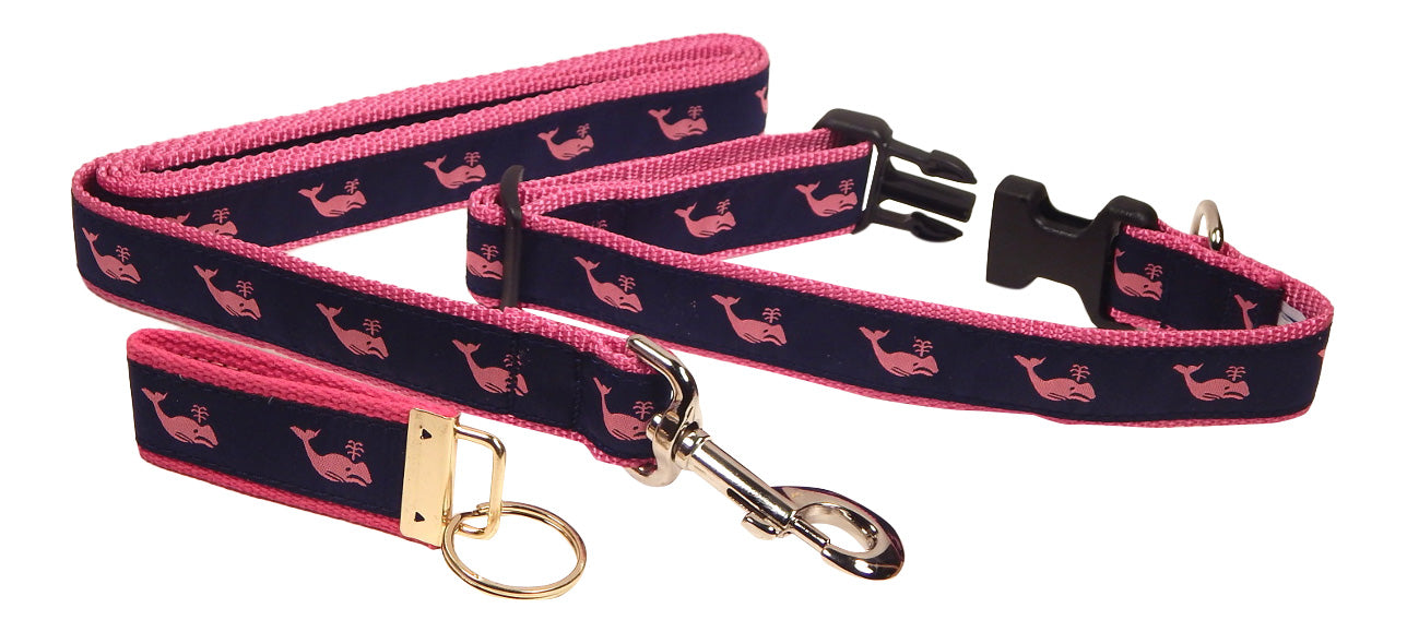 "Preston Ribbons ""Pink Whale on Navy"" Collar and Leash, MEDIUM/LARGE Dogs, FREE Matching Key Ring"