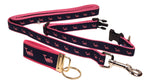 "Preston Ribbons ""Pink Whale on Navy"" Collar and Leash, SMALL Dogs, FREE Matching Key Ring"