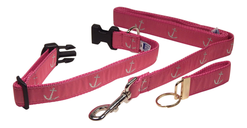 "Preston Ribbons ""Glittery Silver Anchor"" Collar and Leash, MEDIUM/LARGE Dogs, FREE Matching Key Ring"