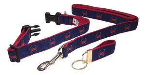 "Preston Ribbons ""Red Crab on Navy"" Collar and Leash, MEDIUM/LARGE Dogs, FREE Matching Key Ring"