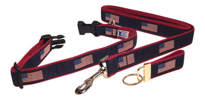 "Preston Ribbons ""American Flag"" Collar and Leash, MEDIUM/LARGE Dogs, FREE Matching Key Ring"