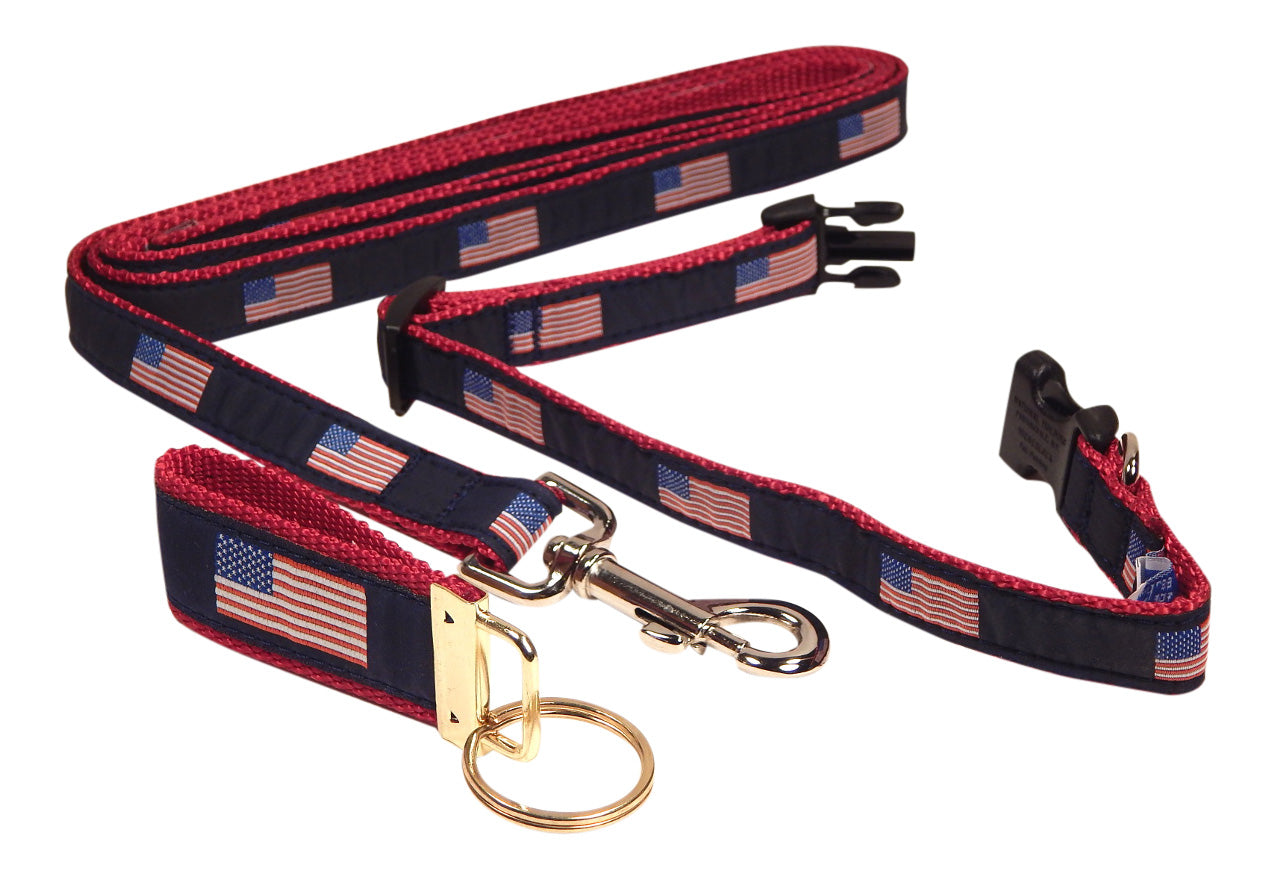"Preston Ribbons ""American Flag"" Collar and Leash, SMALL Dogs, FREE Matching Key Ring"