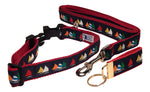 "Preston Ribbons ""Rainbow Fleet on Navy"" Collar and Leash, MEDIUM/LARGE Dogs, FREE Matching Key Ring"