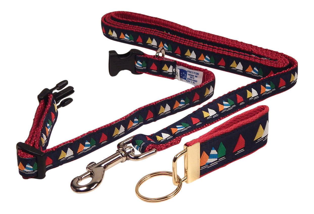 "Preston Ribbons ""Rainbow Fleet on Navy"" Collar and Leash, SMALL Dogs, FREE Matching Key Ring"