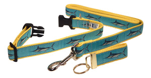 "Preston Ribbons ""Marlin"" Collar and Leash, MEDIUM/LARGE Dogs, FREE Matching Key Ring"