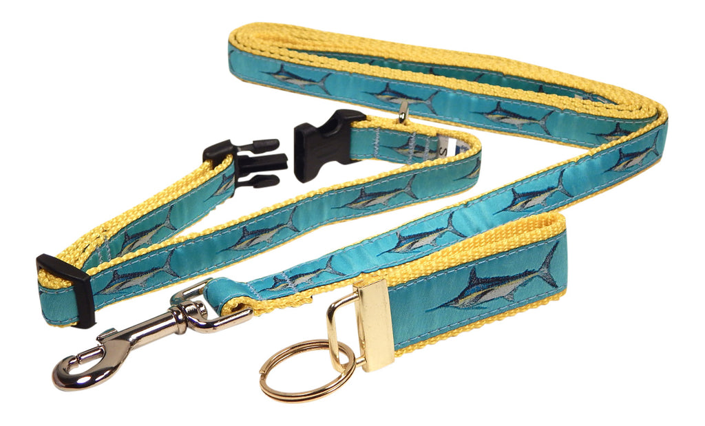 "Preston Ribbons ""Marlin"" Collar and Leash, SMALL Dogs, FREE Matching Key Ring"