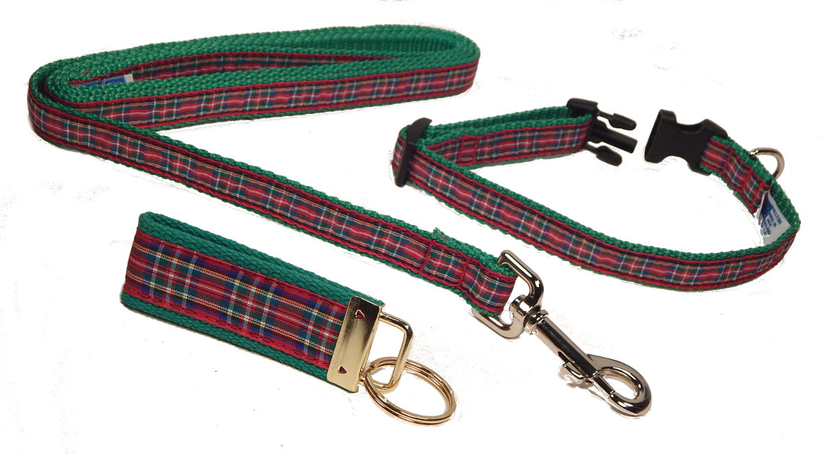 "Preston Ribbons ""Royal Stewart Plaid"" Collar and Leash, SMALL Dogs, FREE Matching Key Ring"