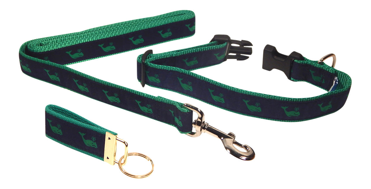 "Preston Ribbons ""Green Whale on Navy"" Collar and Leash, MEDIUM/LARGE Dogs, FREE Matching Key Ring"